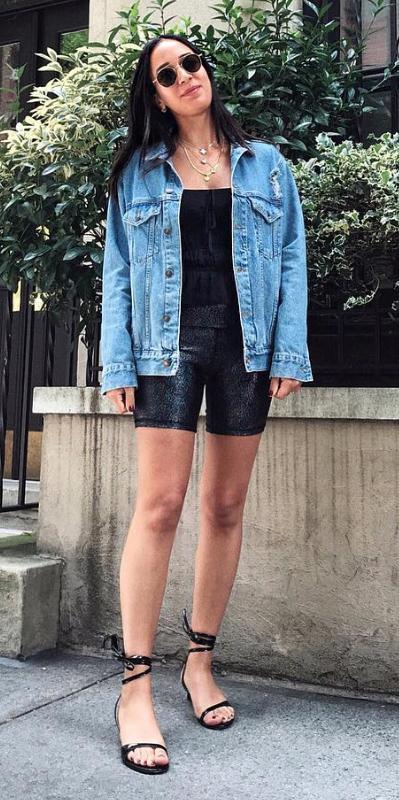 black-shorts-cycling-bike-black-cami-blue-med-jacket-jean-necklace-black-shoe-sandalh-sun-brun-spring-summer-lunch.jpg