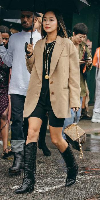 black-shorts-cycling-bike-necklace-pend-black-tee-tan-jacket-blazer-oversized-cowboy-black-shoe-boots-brun-hoops-streetstyle-fall-winter-lunch.jpg