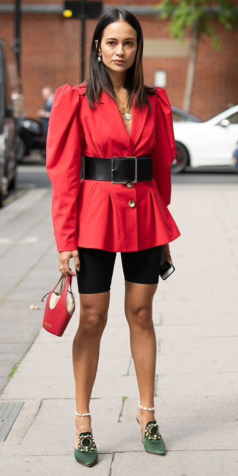 black-shorts-cycling-bike-red-jacket-blazer-wide-belt-red-bag-green-shoe-pumps-anklet-necklace-brun-fall-winter-lunch.jpg