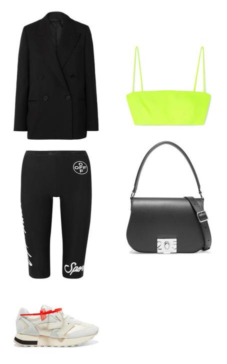 black-shorts-cycling-bike-green-light-bralette-neon-black-jacket-blazer-black-bag-white-shoe-sneakers-spring-summer-lunch.jpg