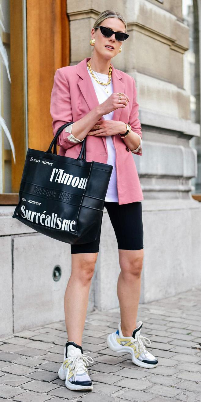 black-shorts-cycling-bike-pink-light-jacket-blazer-black-bag-tote-necklace-earrings-sun-white-tee-white-shoe-sneakers-blonde-spring-summer-lunch.jpg