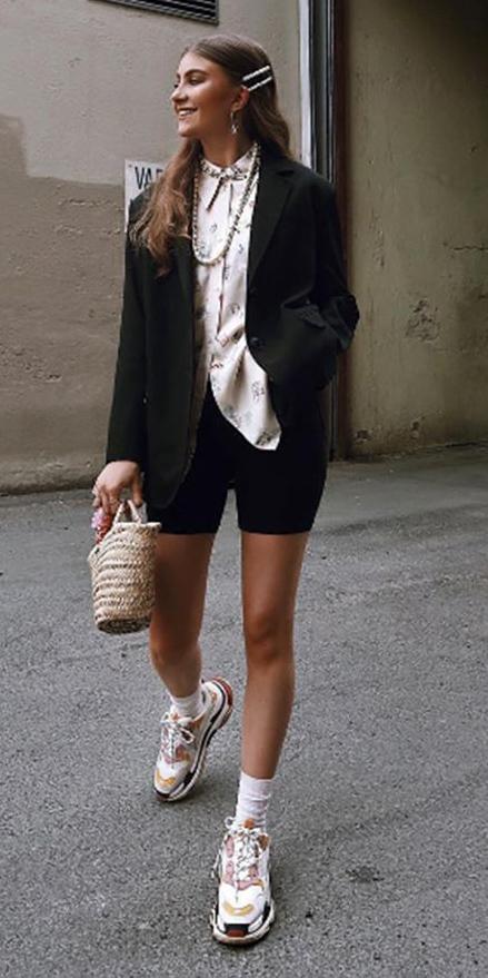 black-shorts-cycling-bike-white-collared-shirt-necklace-clip-tan-bag-straw-socks-white-shoe-sneakers-black-jacket-blazer-hairr-spring-summer-lunch.jpg