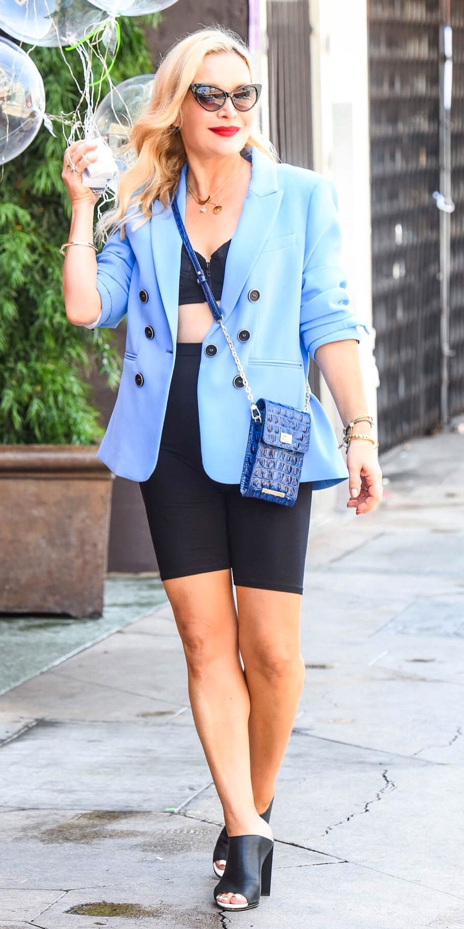 black-shorts-cycling-bike-blue-light-jacket-blazer-blue-bag-crossbody-sun-necklace-black-shoe-sandalh-black-bralette-spring-summer-lunch.jpg