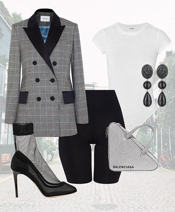 black-shorts-cycling-bike-white-tee-gray-bag-silver-earrings-grayl-jacket-blazer-plaid-black-shoe-pumps-fall-winter-dinner.jpg