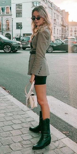 black-shorts-cycling-bike-belt-tan-jacket-blazer-earrings-sun-blonde-white-bag-black-shoe-boots-cowboy-fall-winter-lunch.jpg