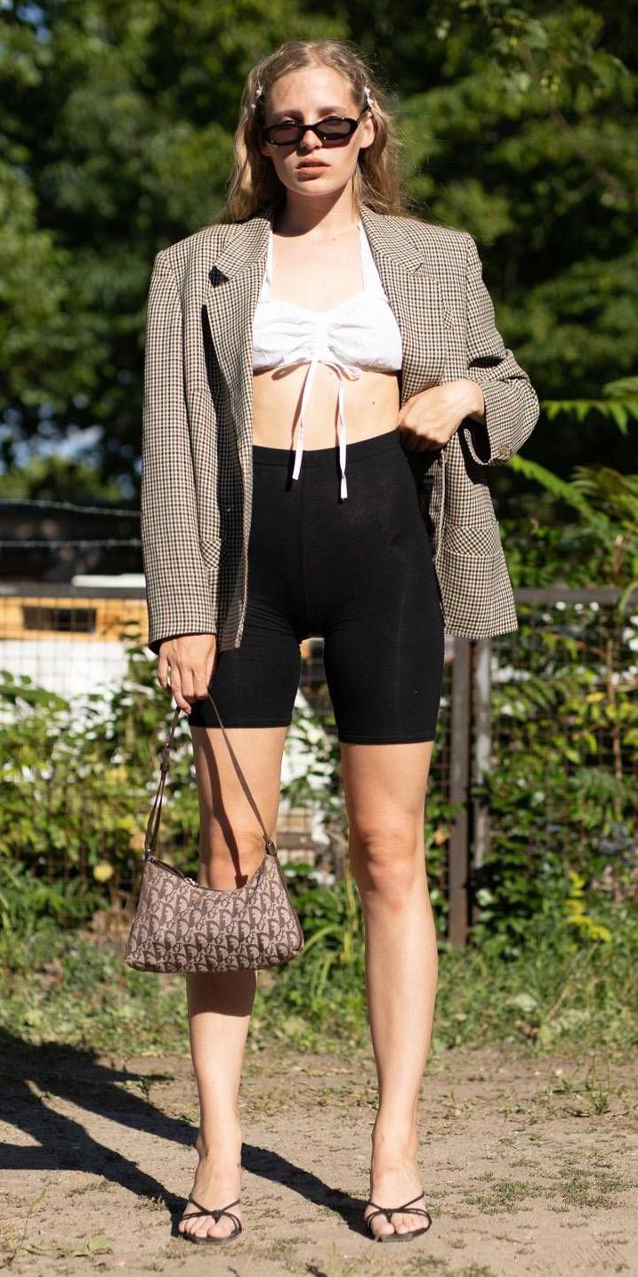black-shorts-cycling-bike-white-crop-top-tan-jacket-blazer-plaid-brown-bag-sun-blonde-black-shoe-sandalh-spring-summer-lunch.jpg