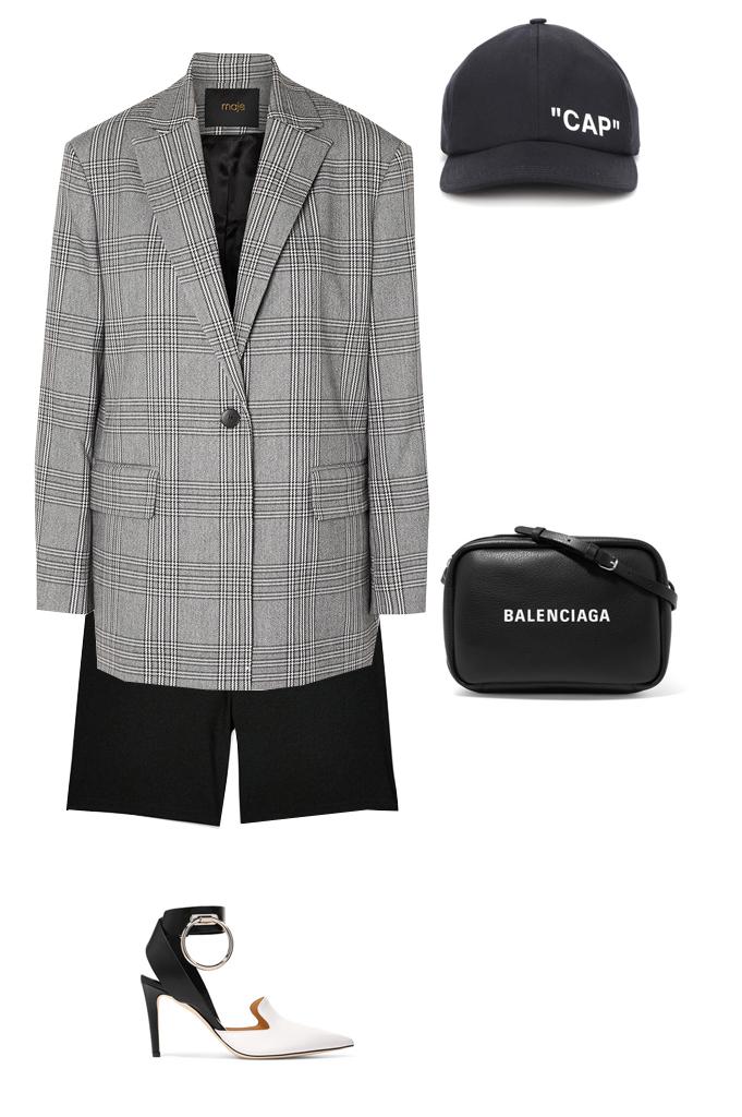 black-shorts-cycling-bike-black-bag-hat-cap-plaid-grayl-jacket-blazer-white-shoe-pumps-fall-winter-lunch.jpg