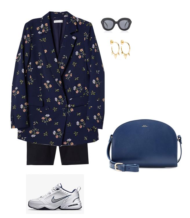 black-shorts-cycling-bike-blue-bag-hoops-sun-floral-print-blue-navy-jacket-blazer-white-shoe-sneakers-fall-winter-lunch.jpg