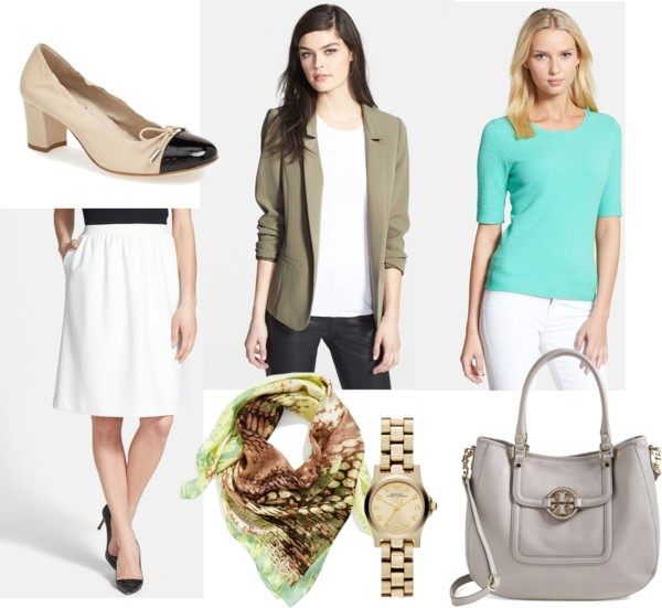white-aline-skirt-green-light-top-green-olive-jacket-blazer-green-light-scarf-gray-bag-howtowear-fashion-style-outfit-spring-summer-scarf-print-silk-tan-shoe-pumps-watch-work.jpg