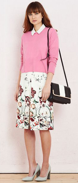 white-aline-skirt-floral-print-pink-light-sweater-white-collared-shirt-black-bag-gray-shoe-pumps-howtowear-fashion-style-outfit-spring-summer-hairr-lunch.jpg
