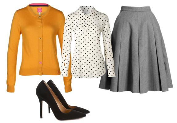 grayl-aline-skirt-white-top-blouse-dot-print-black-shoe-pumps-yellow-cardigan-fall-winter-work.jpg