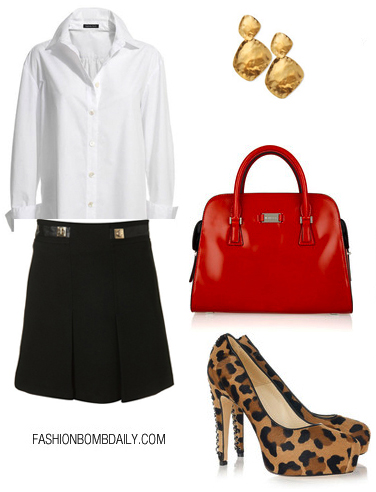 black-aline-skirt-white-collared-shirt-howtowear-fashion-style-outfit-fall-winter-pleats-earrings-leopard-tan-shoe-pumps-hand-red-bag-basic-drama-work.jpg
