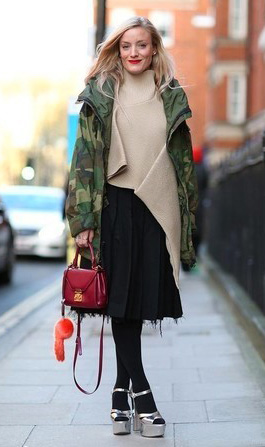 black-aline-skirt-tan-sweater-burgundy-bag-black-tights-gray-shoe-sandalh-blonde-camo-print-green-olive-jacket-coat-parka-fall-winter-outfit-lunch.jpg