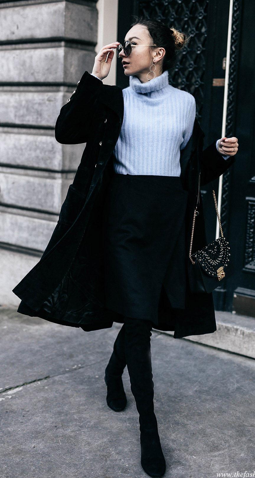 black-aline-skirt-blue-light-sweater-turleneck-black-jacket-coat-black-shoe-boots-bun-sun-earrings-black-bag-fall-winter-hairr-lunch.jpg