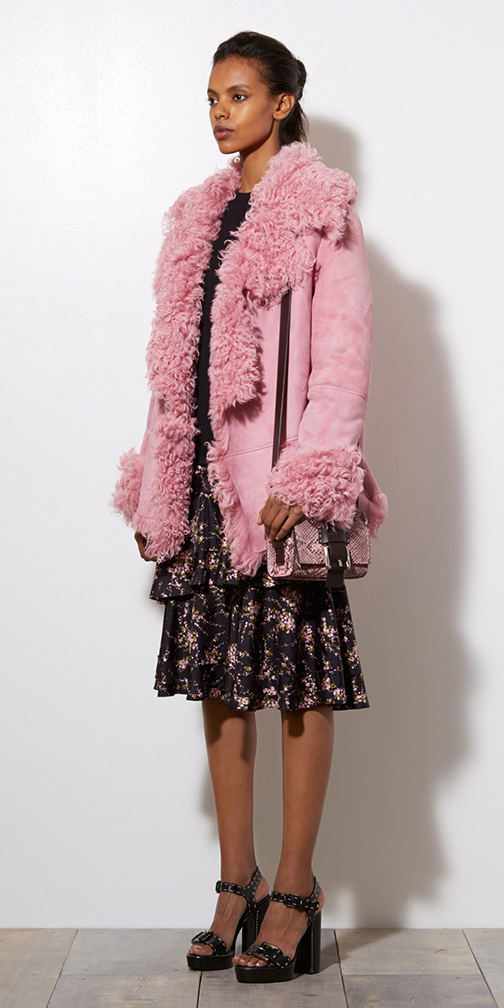 black-aline-skirt-floral-print-pink-bag-pony-black-shoe-sandalh-shearling-pink-light-jacket-coat-fur-fuzz-fall-winter-brun-lunch.jpg