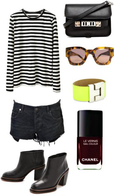 black-shorts-black-tee-stripe-howtowear-fashion-style-outfit-fall-winter-black-shoe-booties-black-bag-nail-sun-bracelet-denim-neon-weekend.jpg