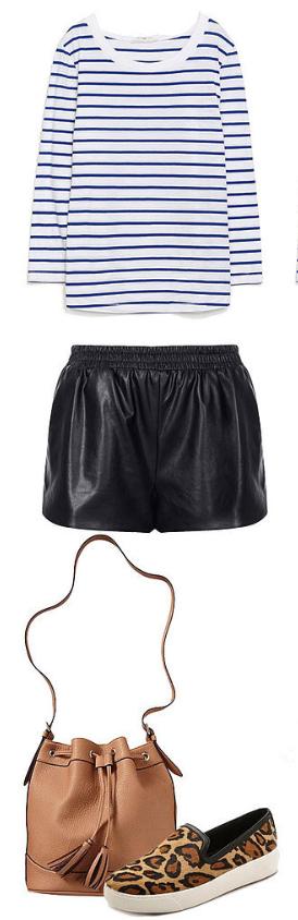 black-shorts-blue-navy-tee-stripe-howtowear-fashion-style-outfit-spring-summer-tan-shoe-sneakers-leopard-tan-bag-bucket-leather-weekend.jpg