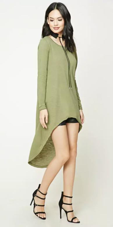 black-shorts-green-olive-tee-tunic-highlow-choker-black-shoe-sandalh-fall-winter-brun-dinner.jpg