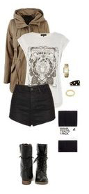 black-shorts-black-tights-black-shoe-booties-white-graphic-tee-brown-jacket-fall-winter-weekend.jpg