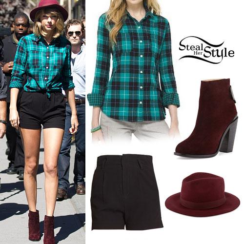black-shorts-burgundy-shoe-booties-green-emerald-plaid-shirt-blonde-hat-taylorswift-fall-winter-lunch.jpg
