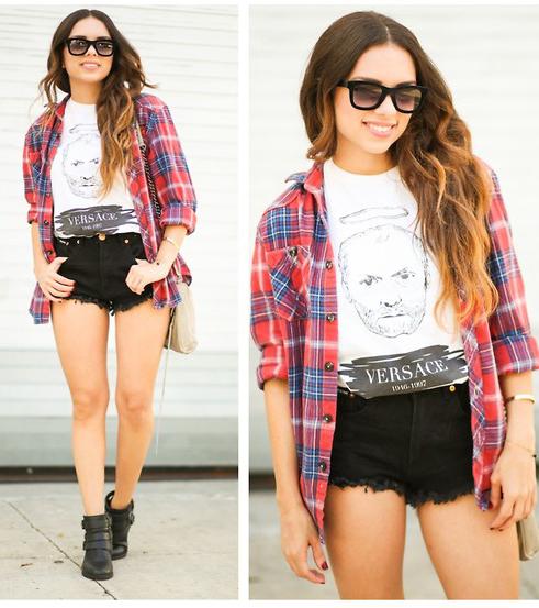 black-shorts-white-graphic-tee-red-plaid-shirt-tan-bag-black-shoe-booties-sun-spring-summer-outfit-hairr-weekend.jpg