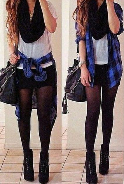 black-shorts-white-tee-blue-med-plaid-shirt-black-scarf-black-bag-black-tights-black-shoe-booties-howtowear-fashion-style-outfit-fall-winter-hairr-weekend.jpg