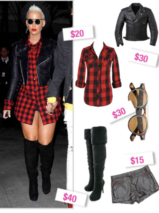 black-shorts-red-plaid-shirt-howtowear-fashion-style-outfit-fall-winter-leather-black-jacket-moto-black-shoe-boots-tunic-blonde-dinner.jpg