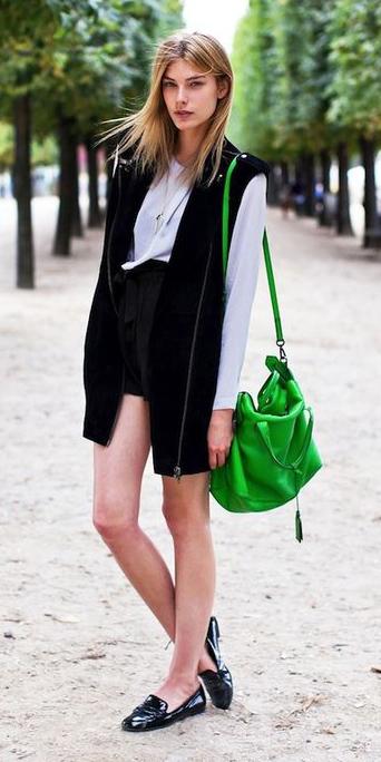 black-shorts-white-top-blouse-green-bag-blonde-black-vest-moto-black-shoe-loafers-fall-winter-lunch.jpg