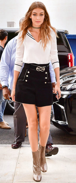 black-shorts-white-top-blouse-choker-tan-shoe-booties-sailor-blonde-gigihadid-street-style-newyork-howtowear-fashion-style-outfit-fall-winter-lunch.jpg
