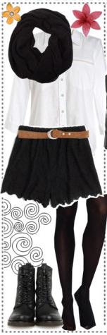 black-shorts-white-top-blouse-black-scarf-belt-black-tights-black-shoe-booties-howtowear-fashion-style-outfit-fall-winter-lunch.jpg