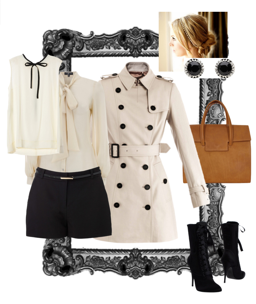 black-shorts-white-top-blouse-tan-jacket-coat-trench-cognac-bag-black-shoe-booties-bun-studs-bow-howtowear-fashion-style-outfit-spring-summer-blonde-work.jpg