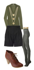 black-shorts-green-olive-top-blouse-howtowear-fashion-style-outfit-fall-winter-wool-gray-tights-brown-shoe-booties-necklace-lunch.jpg