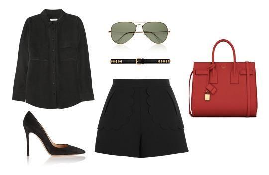 black-shorts-belt-sun-red-bag-black-shoe-pumps-black-collared-shirt-fall-winter-work.jpg