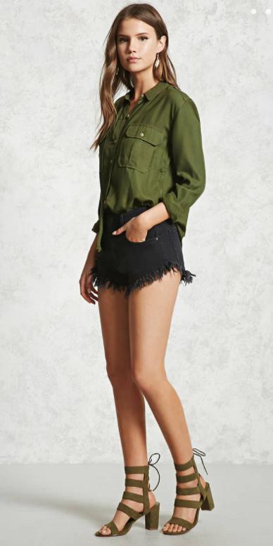 black-shorts-denim-cutoffs-green-olive-collared-shirt-green-shoe-sandalh-spring-summer-hairr-lunch.jpg