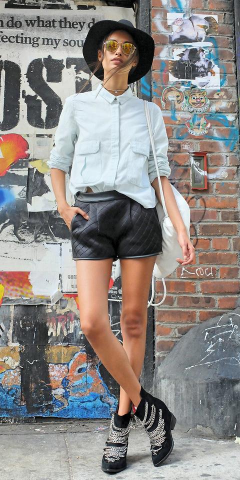 black-shorts-blue-light-collared-shirt-sun-hat-white-bag-pack-black-shoe-booties-fall-winter-weekend.jpg