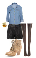 black-shorts-blue-light-collared-shirt-howtowear-fashion-style-outfit-fall-winter-bracelet-tan-shoe-booties-black-tights-lunch.jpg
