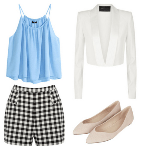 black-shorts-blue-light-cami-gingham-white-jacket-blazer-tan-shoe-flats-print-howtowear-fashion-style-outfit-spring-summer-lunch.jpg