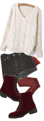 black-shorts-white-sweater-howtowear-fashion-style-outfit-fall-winter-red-tights-cableknit-red-shoe-booties-denim-weekend.jpg
