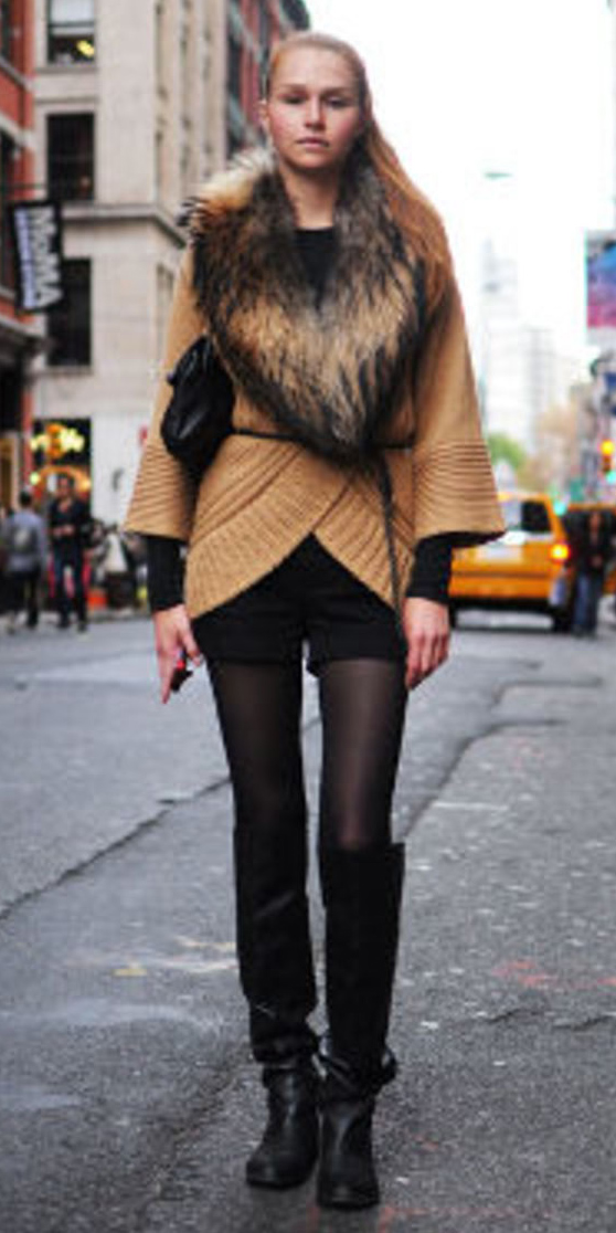 black-shorts-camel-cardiganl-fur-stole-black-bag-black-tights-black-shoe-boots-blonde-pony-fall-winter-lunch.jpg