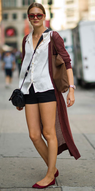 black-shorts-sun-white-collared-shirt-red-shoe-flats-burgundy-cardiganl-spring-summer-hairr-lunch.jpg
