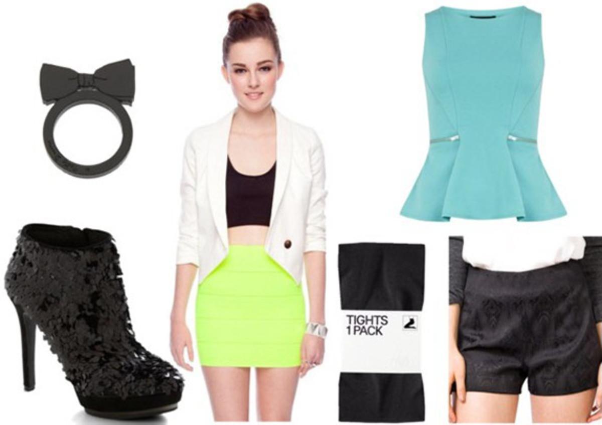 black-shorts-blue-light-top-peplum-white-jacket-blazer-black-tights-black-shoe-booties-ring-spring-summer-dinner.jpg