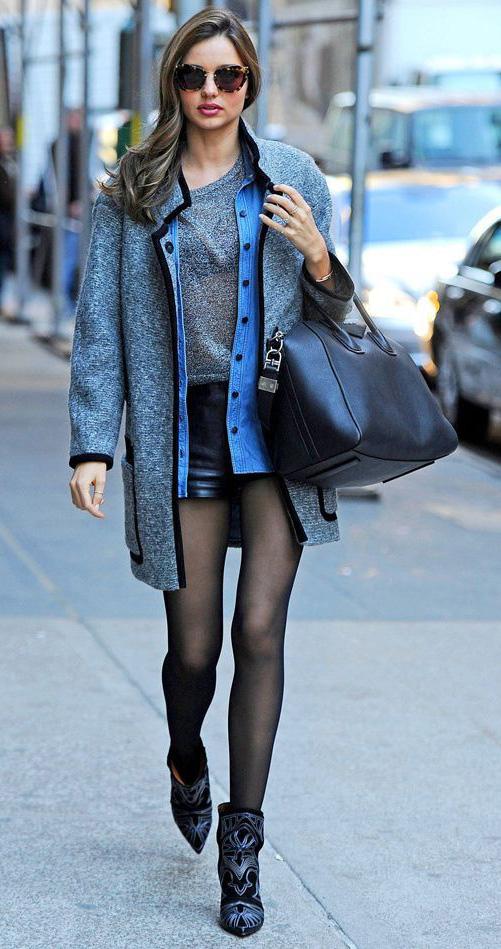 black-shorts-grayl-tee-blue-light-collared-shirt-fall-winter-chambray-grayl-jacket-coat-black-tights-mirandakerr-black-bag-sun-basic-black-shoe-booties-hairr-classic-lunch.jpg
