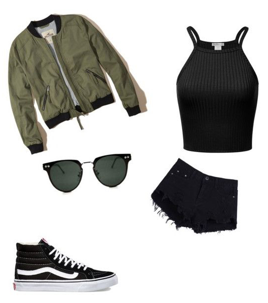black-shorts-black-top-green-olive-jacket-bomber-sun-black-shoe-sneakers-howtowear-fashion-style-outfit-spring-summer-weekend.jpg