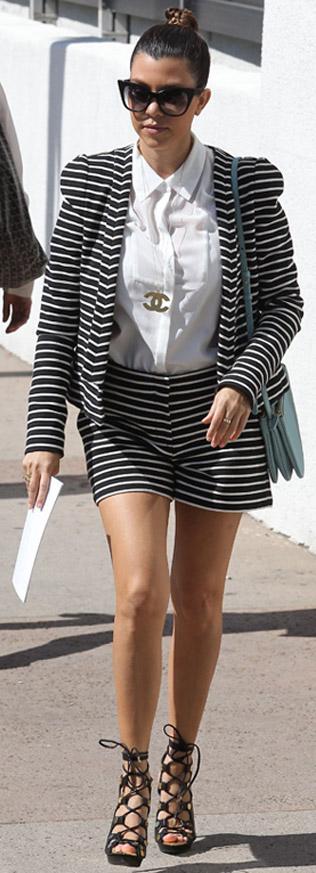black-shorts-white-collared-shirt-howtowear-fashion-style-outfit-spring-summer-kourtneykardashian-match-stripe-bun-sun-black-shoe-sandalh-suit-necklace-pend-blue-bag-black-jacket-brun-lunch.jpg