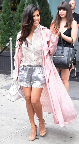 grayl-shorts-white-top-blouse-pink-light-jacket-coat-trench-metallic-white-bag-tan-shoe-sandalh-howtowear-fashion-style-outfit-spring-summer-kourtneykardashian-brun-lunch.jpg