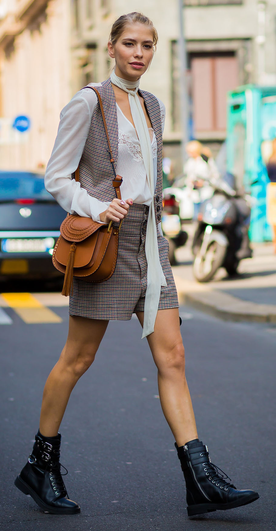 grayl-shorts-plaid-cognac-bag-white-top-blouse-grayl-vest-tailor-bun-black-shoe-booties-elenaperminova-fall-winter-lunch.jpg