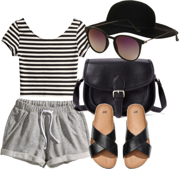 grayl-shorts-black-tee-stripe-black-shoe-sandals-black-bag-sun-hat-spring-summer-lazy-weekend.jpg