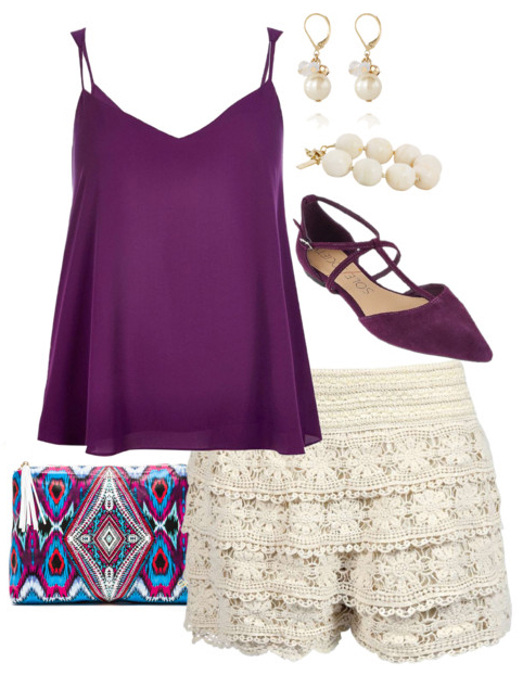 white-shorts-lace-purple-shoe-flats-pearl-earrings-bracelet-purple-bag-clutch-purple-royal-cami-spring-summer-weekend.jpg