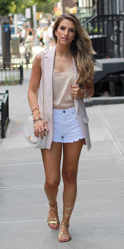white-shorts-cutoff-gold-tan-shoe-sandals-white-bag-tan-vest-tailor-studs-tan-cami-spring-summer-blonde-lunch.JPG