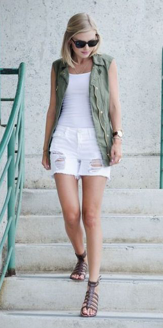 white-shorts-white-tank-blonde-lob-brown-shoe-sandals-green-olive-vest-utility-spring-summer-weekend.jpg